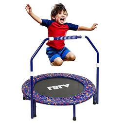Kids Trampoline with Adjustable Handrail and Safety Padded C