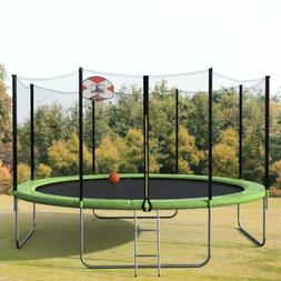 Merax 14FT Round Trampoline with Safety Enclosure, Basketbal