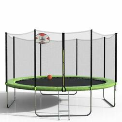 Merax SW000009 14ft Round Trampoline with Basketball Hoop an