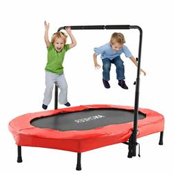 Mini Rebounder Trampoline with Adjustable Handle for Two Kid