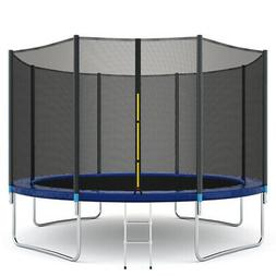 12 ft Trampoline Combo w/ Safety Enclosure Net  Spring Pad