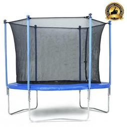 New 8 FT Trampoline Combo Bounce Jump Safety Enclosure Net W