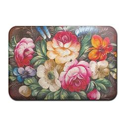 HUVATT Oil Painting Floweres Home Door Mat Super Absorbent A
