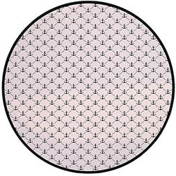 Printing Round Rug,Anchor,Abstract Retro Nautical Style Shap