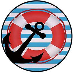 Printing Round Rug,Anchor,Blue Striped Backdrop with Lifebuo