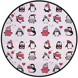 Printing Round Rug,Winter,Cute Penguins Hand Drawn Style Set