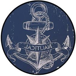 Printing Round Rug,Marine,Nautical Knot Compass Anchor Patte