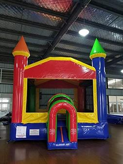 Rainbow Red, Yellow & Blue Bounce House with Tunnel Entrance