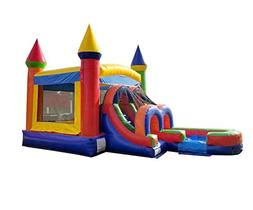 TentandTable Rainbow Wet Dry Kids Bounce House Tunnel Front,