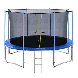 ExacMe 10-16FT Round Trampoline with Inner Enclosure 335 LBS