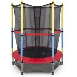 "Best Choice Products 55"" Round Kids Mini Trampoline w/ Enclo"