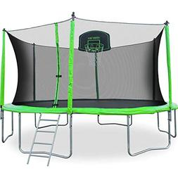 Merax 12-Feet Round Trampoline with Safety Enclosure, Basket