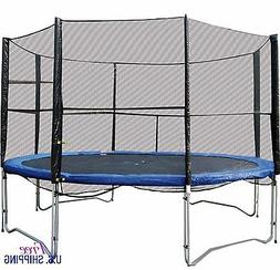 Round Trampoline Outdoor Play Backyard Sports Safety Enclosu