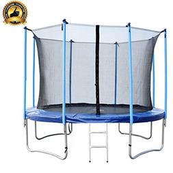 YourYard 12 FT Round Trampoline with Enclosure, Net W/Spring