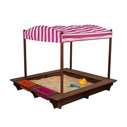 KidKraft Outdoor Sandbox with Canopy - Pink and White