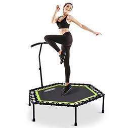 """OneTwoFit 48"""" Silent Mini Trampoline with Adjustable Handle"""