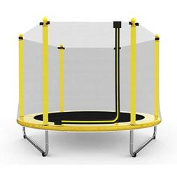 Caraya Children Trampoline with Safety Net Enclosure Yellow