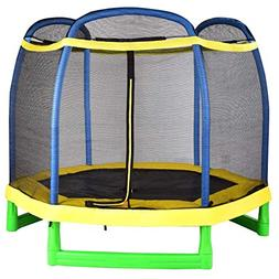 Giantex 7' Trampoline with Enclosure Safety Net Pad, Built-i