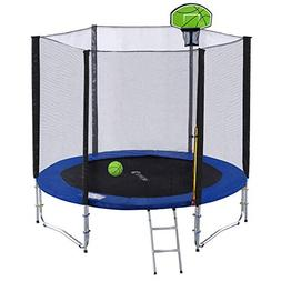 Exacme 8FT Trampoline with Safety Pad,Enclosure Net,Ladder a