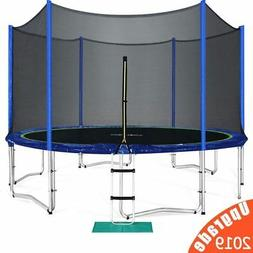 New Zupapa 14FT Round Trampoline With Safety Pad Inside Encl
