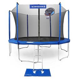 SONGMICS Outdoor Trampoline 14-Feet for Kids with Basketball