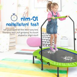 Twin Trampoline With Handrail Safety Cover for 2 Kids No-Spr