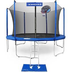 SONGMICS Outdoor Trampoline 15-Feet for Kids with Basketball