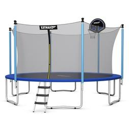 Trampoline with Enclosure Basketball Hoop 15 Ft Bounce Jump