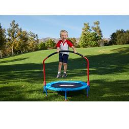 Trampoline with Hand Rail Kids Baby Toddler Play Game Easy S