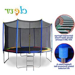 Clevr 12 ft Outdoor Trampoline with Safety Enclosure Net & S