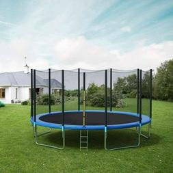 US 12 Ft Kids Trampoline With Enclosure Net Jumping Mat And